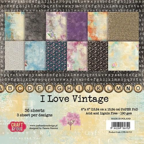 Craft&You I Love Vintage Small Paper Pad 6x6 36 vel CPB-ILV15