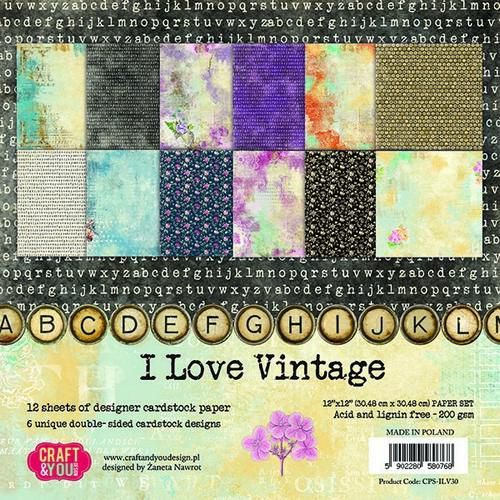 Craft&You I Love Vintage Big Paper Set 12x12 12 vel CPB-ILV30