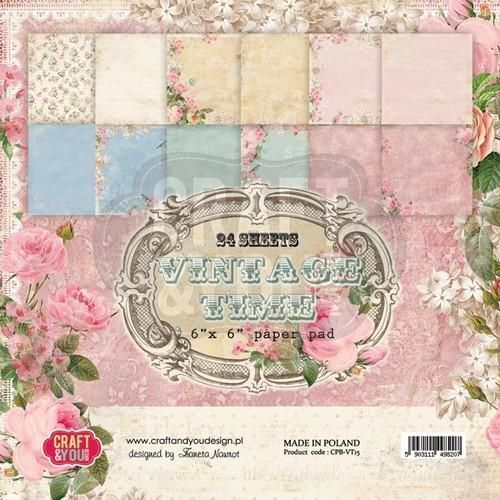 Craft&You Vintage Time Small Paper Pad 6x6  36 vel CPB-VT15