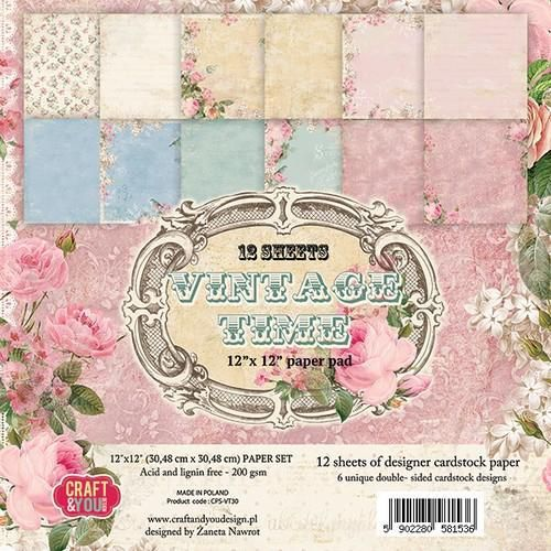 Craft&You Vintage Time Big Paper Set 12x12 12 vel CPS-VT30