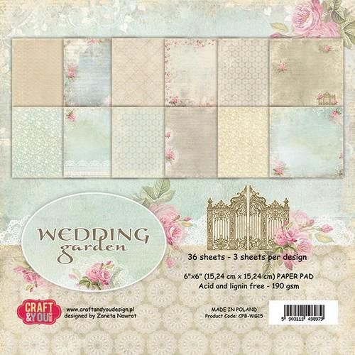 Craft&You Wedding Garden Small Paper Pad 6x6 36 vel CPB-WG15