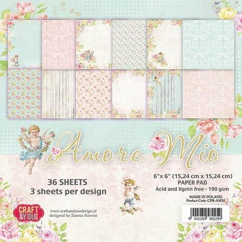 Craft&You Amore Mio Small Paper Pad 6x6 36 vel CPB-AM15 (06-18)