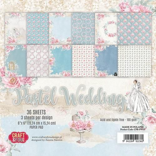 Craft&You Pastel Wedding Small Paper Pad 6x6 36 vel CP-PW15 (06-18)