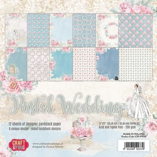 Craft&You Pastel Wedding Big Paper Set 12x12 12 vel CPS-PW30 (06-18)