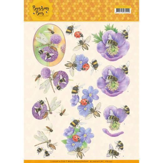 3D knipvel - Jeanines Art - Buzzing Bees - Purple Flowers
