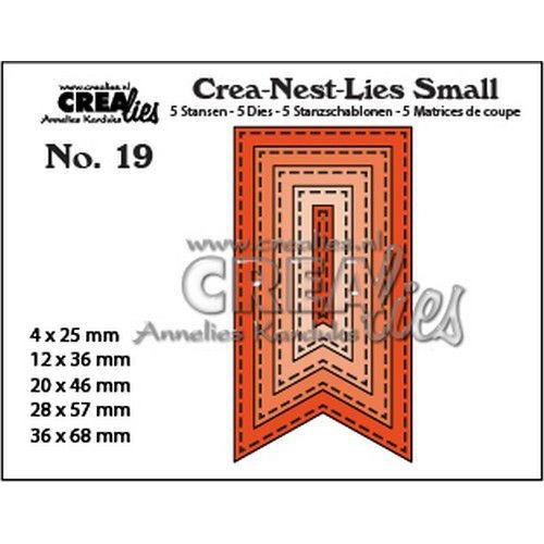 Crealies Crea-nest-Lies Small Vaandels met stiklijnen (5x) CNLS19 / max. 36 x 68 mm (06-19)