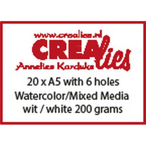 Crealies Basis A5 watercolor 200 grm (20x) CLBS204 A5 with 6 holes (06-19)