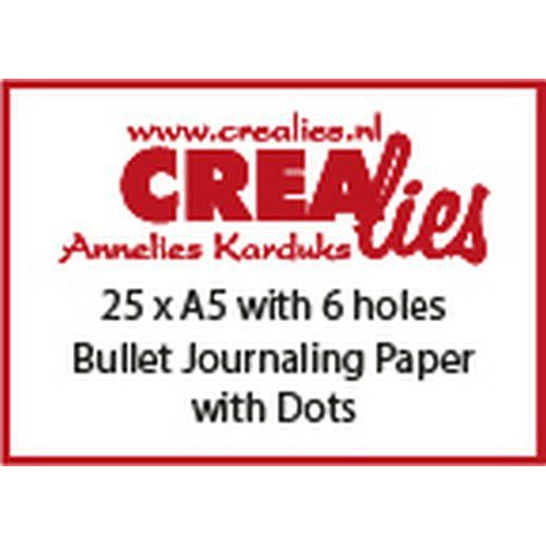 Crealies Basis A5 bullet journaling paper dots 150 grm (25x) CLBS208 A5 6 holes (06-19)