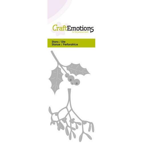 CraftEmotions Die - hulst / mistletoe Card 5x10cm (07-19)