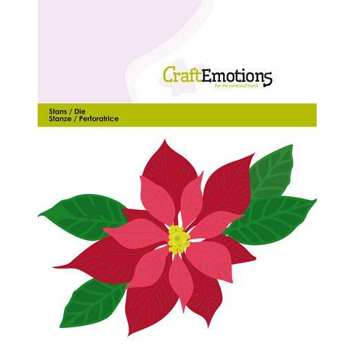CraftEmotions Die - kerstster / Poinsettia Card 11x9cm - 9,5 cm (07-19)
