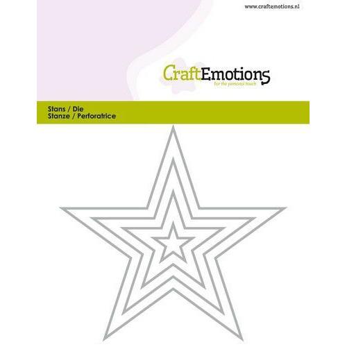 CraftEmotions Die - randen 5 puntige ster Card 11x9cm - 1,5cm - 9cm (07-19)