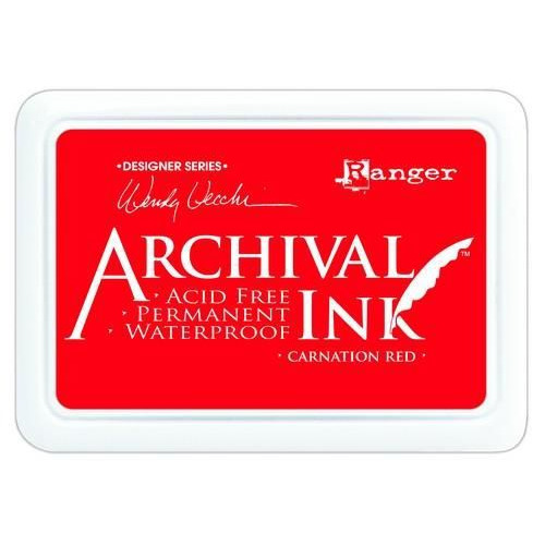 Ranger Archival Ink pad - carnation red AID41399 Wendy Vecchi