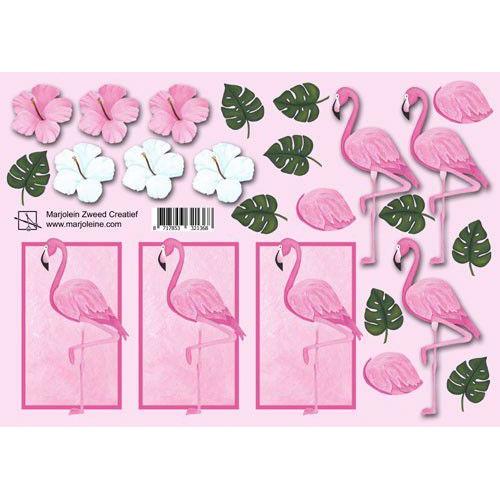 Marjoleine's 3D Knipvel - flamingo A4 (06-19)