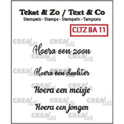Crealies Clearstamp Tekst&Zo 4x Baby 11 (NL) CLTZBA11 max. 31 mm (02-19)