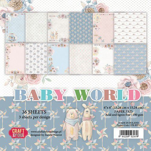 Craft&You Baby World small paper pad 6x6 36 vel CPB-BW15 (02-19)