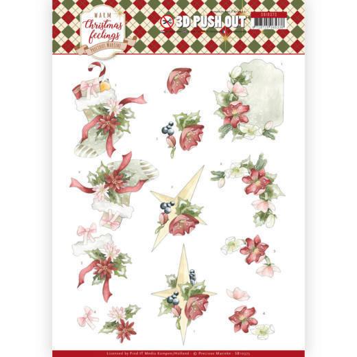 3D Pushout - Precious Marieke - Warm Christmas Feelings - Red Christmas Ornaments