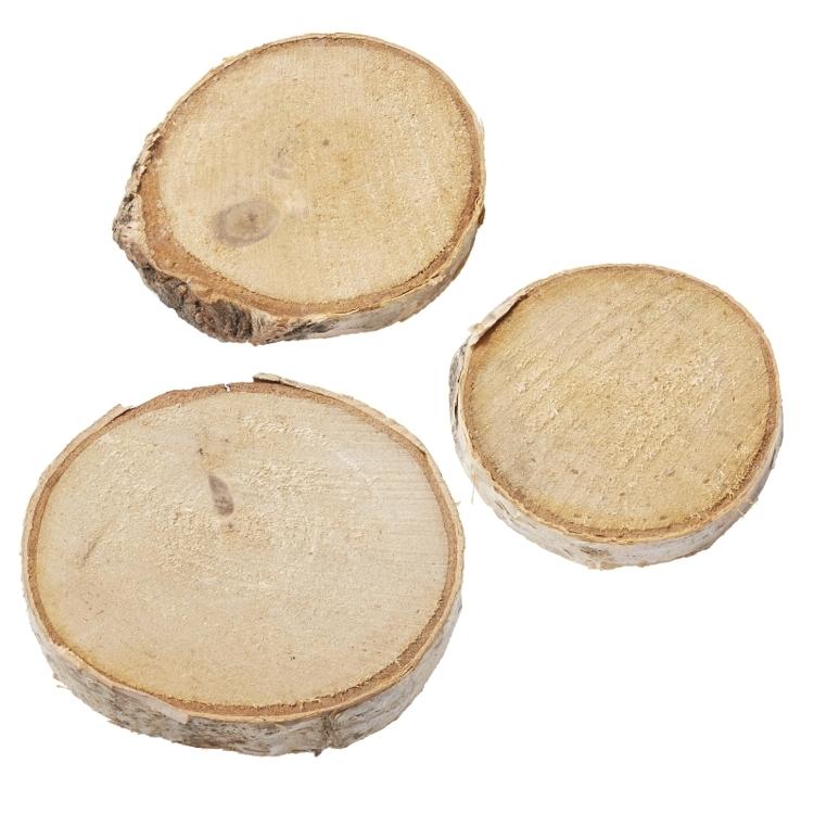 Berkenhout schijven, verschillende maten, max. 4 cm, buidel met 4 st