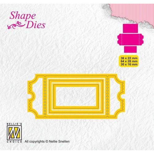 Nellies Choice Shape Die - ticket & tags - ticket 1 SD170 36x22/64x28/30x16mm (08-19)