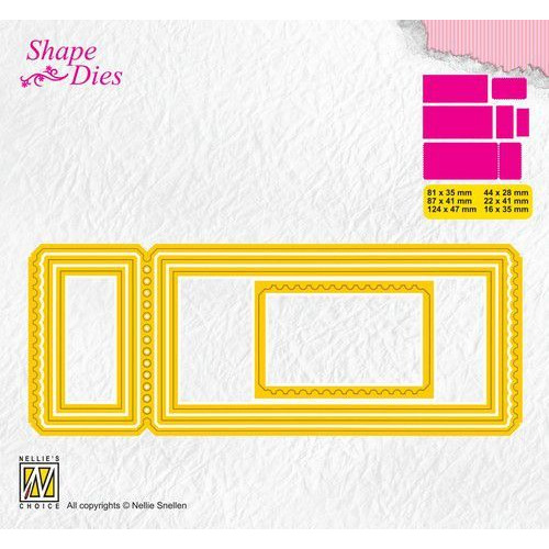Nellies Choice Shape Die - ticket & tags - ticket 3 SD172 124x47 - 16x35mm (08-19)