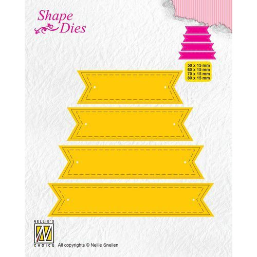 Nellies Choice Shape Die - ticket & tags - 4 tags 1 SD174 50x15/60x15/70x15/80x15mm (08-19)