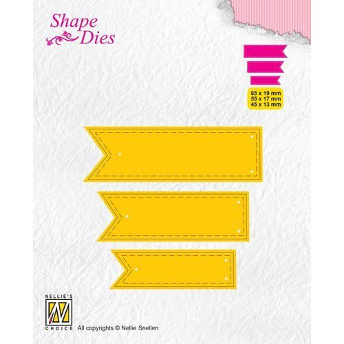 Nellies Choice Shape Die - ticket & tags - 3 tags 2 SD175 65x19/55x17/43x13mm (08-19)