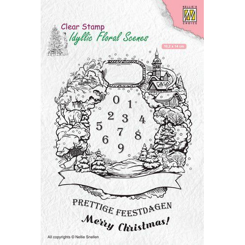 Nellies Choice clearstamp - Idyllic Floral Scenes Christmas krans IFS020 102x140mm (08-19)