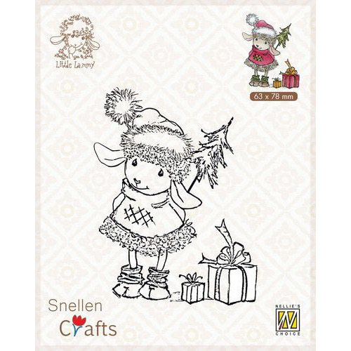 Nellie's Choice Clear stamps Little Lammy Happy with presents SCLOLA001 63x80mm (08-19)