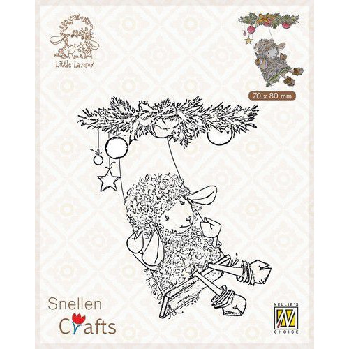Nellie's Choice Clear stamps Little Lammy Christmas swing SCLOLA005 70x80mm (08-19)