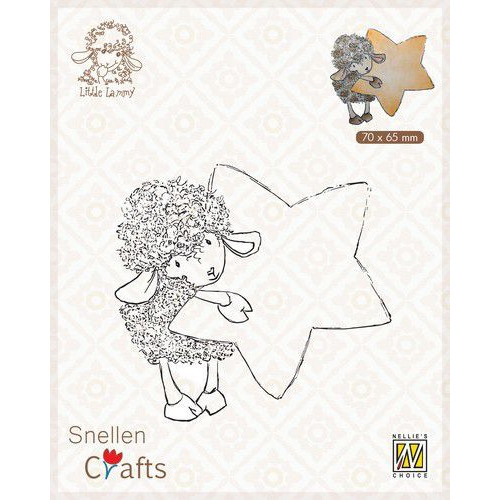 Nellie's Choice Clear stamps Little Lammy Lammy with star SCLOLA006 70x65mm (08-19)
