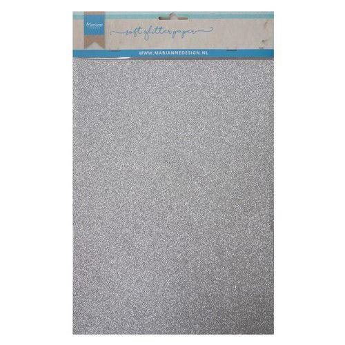 Marianne D Decoratie Soft Glitter papier 5vl - Zilver CA3142 A4 (09-19)