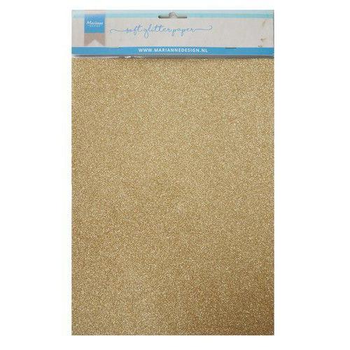 Marianne D Decoratie Soft Glitter papier 5vl - Goud CA3143 A4 (09-19)
