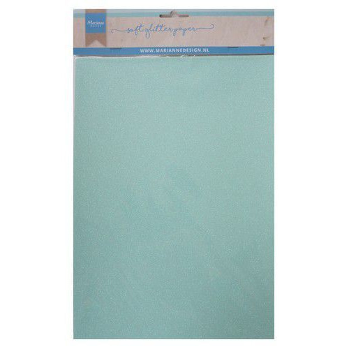 Marianne D Decoratie Soft Glitter papier 5vl - Mint CA3147 A4 (09-19)