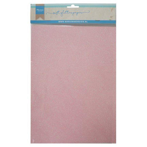 Marianne D Decoratie Soft Glitter papier 5vl - Lichtroze CA3148 A4 (09-19)