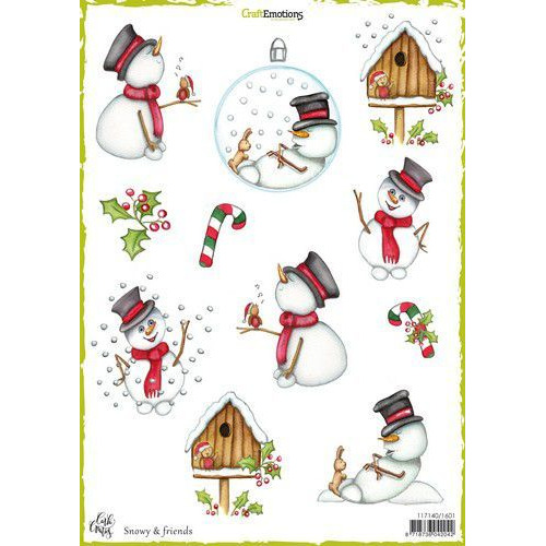 CraftEmotions Decoupage vellen Snowy & friends A4 170 grm Carla Creaties (08-19)