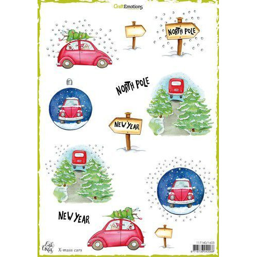 CraftEmotions Decoupage vellen  x-mass cars A4 170 grm Carla Creaties (08-19)