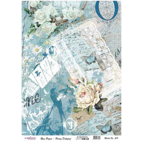 Cadence rijstpapier Vintage rozen - post - blauw Model No: 319