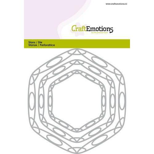 CraftEmotions Die - frames art hexagon Card 10,5x14,8cm - 6,5 - 11cm (09-19)