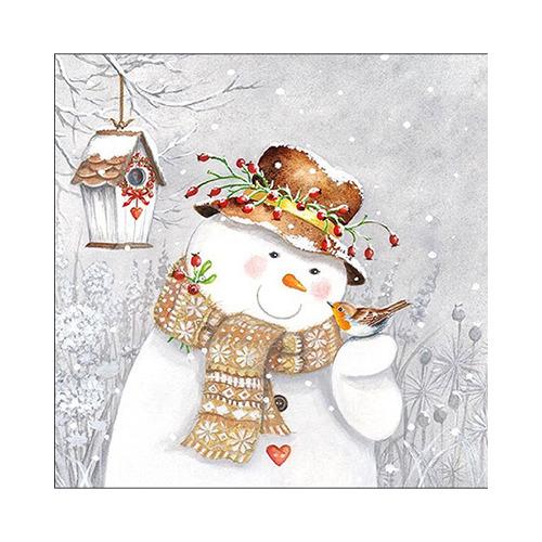 Snowman Holding Robin