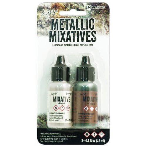 Ranger Alcohol Ink Metallix Mixative - Pearl & Copper TIM21254 Tim Holtz 2 x14ml
