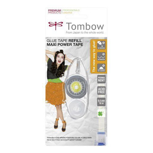 Tombow navulling voor Maxi Power Glue tape permanent-blister 19-PR-IP 8,4 mmx16 mtr