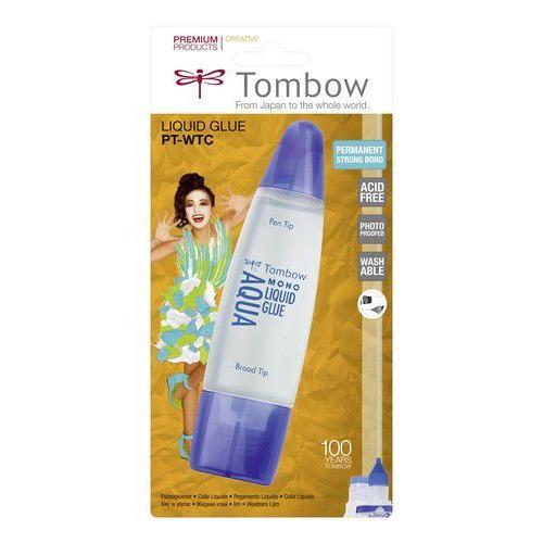 Tombow Liquid glue Aqua 50 ml met 2 tips-blister 19-PT-WTC