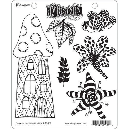 Ranger Dylusions Cling Stamp Set Down in the Woods DYR69027 Dyan Reaveley (08-19)