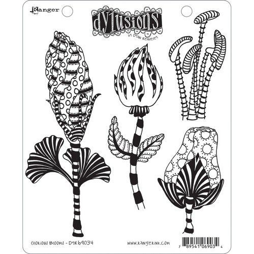 Ranger Dylusions Cling Stamp Set Glorious Blooms DYR69034 Dyan Reaveley (08-19)