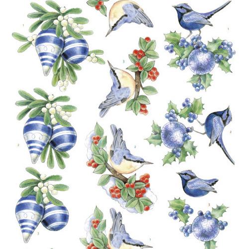 3D knipvel - Jeanine's Art - Blue Christmas
