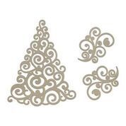 Chipboard - Swirling Christmas Tree (3pc) - 81 x 118mm | 3.1 x 4.6in