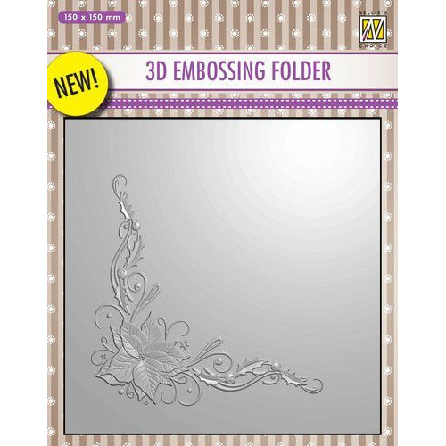 Nellies Choice 3D Emb. folder hoek kerstroos EF3D006 150x150mm (09-19)