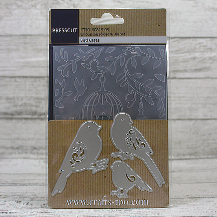 Presscut Embossing Folder & Die Set - Bird Cages