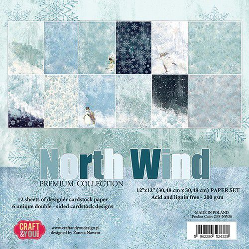 Craft&You North Wind BIG Paper Set 12x12 12 vel CPS-NW30 (09-19)