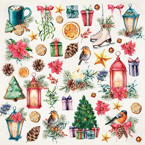 Craft&You Christmas Vibes Sheet elements to be cut out 12X12 CP-CV07 (09-19)