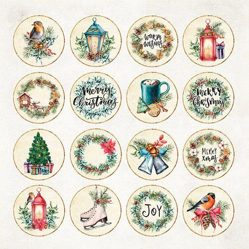 Craft&You Christmas Vibes Sheet elements to be cut out 12X12 CP-CV08 (09-19)